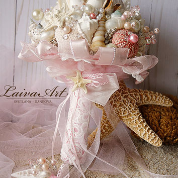 Beach Shell Bouquet Starfish Bouquet Blush Pink Beach Wedding Bouquet Seashell Wedding Bouquet with Boutonniere