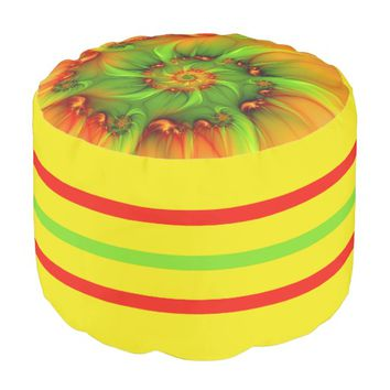 Hot Summer Green Orange Abstract Colorful Fractal Pouf