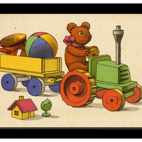 Toys With Tractor, Original Vintage Prints