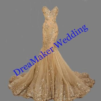 ZGS268 Gold Sequins Prom Dresses Luxury Mermaid Evening Gowns Sweetheart robe de soiree Gold Mermaid