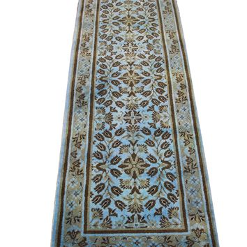 3x8 Floral Overdyed Sky Blue Wool Runner 2705