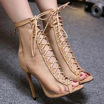 Women Gladiator Sandals  Clear Block  Heel Transparent