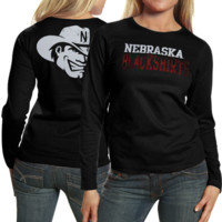 My U Nebraska Cornhuskers Ladies Literality Long Sleeve Slim Fit T-Shirt - Black