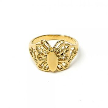 Gold Layered Elegant Ring, Butterfly and Filigree Design, Golden Tone