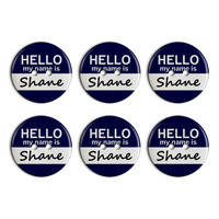 Shane Hello My Name Is Plastic Resin Button Set of 6