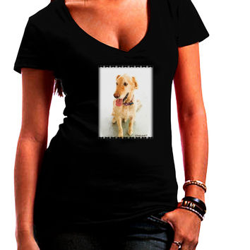 Golden Retriever Watercolor Juniors V-Neck Dark T-Shirt