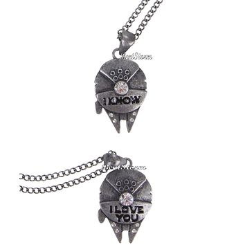 Licensed cool Star Wars Millennium Falcon I Love You I Know Han Solo Leia 2 PK Necklace Set