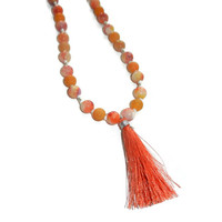 Coral, Yellow, Red and Orange Beaded Necklace with Coral Tassel, Layering Necklace