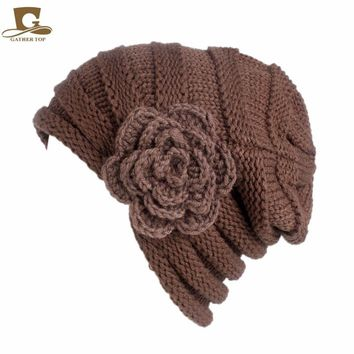 New fashion women slouchy beanie ski baggy hat knitted turban cap with crochet flower Winter Warm Knitting Hats