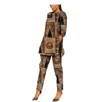 2019 autumn African style women suit matching top and bottom