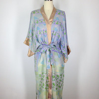 Silk Robe Kimono / Vintage Indian Sari / Lavender Blue Floral Print / Long Robe / Wedding Lingerie