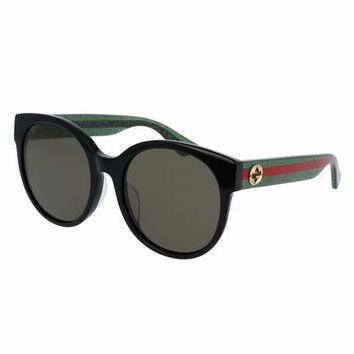 Gucci Glittered Monochromatic Round Universal-Fit Sunglasses, Tortoise/Green/Red