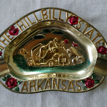 Vintage Souvenir Ashtray- Arkansas Hillbilly State- Painted Pot Metal- 1950s- Rare Find- 20% Off PRE-CHRISTMAS Store Wide Sale