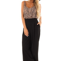 Ink Black Pleated Pants with Wide Leg and Pockets