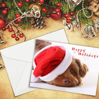 """Greeting Cards, Dog, Happy Holidays, Christmas Card, Animal, Photographic Fine Art, 5""""x7"""" card, Santa Hat, by Nancy G Photography."""