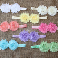 Headband set - shower gift - newborn baby girl - pastel colors - 8 shabby double flower - chiffon - mint - peach - pink - ivory - lilac