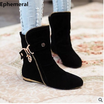 Lady's Retro Rinding Boots Flock Big Size 34-43 Warm Boots Flats Sequined Mid-Calf Botas Women Flattie Shoe Short Autumn Booty