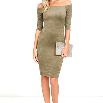 Still the One Olive Green Suede Off-the-Shoulder Dress