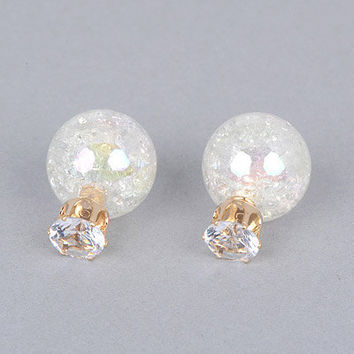 Iridescent Crackle Glass Front Back Sphere Ball Earrings Posts Studs Double Pearl Gold Crystal