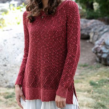 Grace & Lace Honeycomb Knit Sweater (Earth Red)