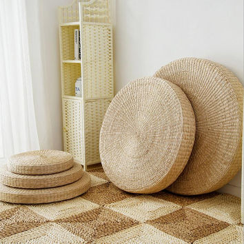 Round Straw Floor Pillows : Shop Floor Cushions on Wanelo