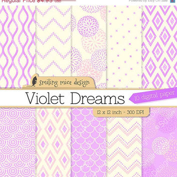 80% OFF SALE VIOLET Dreams digital paper / digital scrapbooking paper