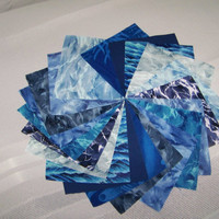 4 1/2 inch Pre Cut Charm squares Shades of Blue
