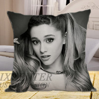 "ariana grande  BW on square pillow cover 16"" 18"" 20"""