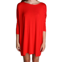 Red Piko Tunic 3/4 Sleeve Dress