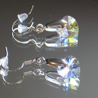 Silver Crystal Heart Earrings. 925 Sterling Silver Ear Wires, 18KGP Silver Bails. 10mm Crystal Hearts.