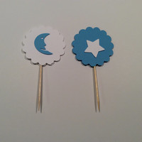 Scalloped circle cupcake topper. White and Blue Moon and Star Party picks, Party decor, Baby shower; Birthday party,  12 per order