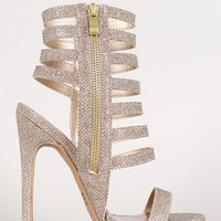 Qupid Glitter Strappy Cuff Stiletto Heel Color: Champagne, Size: 8