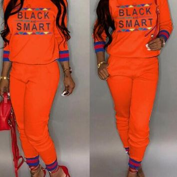 """New Orange Monogram """"BLACK AND SMART"""" Print Pockets Two Piece Long Sleeve Casual Long Jumpsuit"""