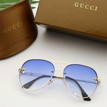 GUCCI Stylish Woman Chic Bee Candy Color Summer Sun Shades Eyeglasses Glasses Sunglasses Blue