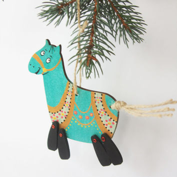 Christmas Horse Ornament Animal ornament Horse Xmas Decoration Home Holiday Tree Wooden horse Handmade horse Hand painted toy Childrens doll