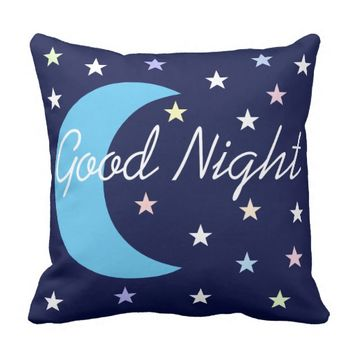 Blue REVERSIBLE Good Night & Sweet Dreams Throw Pillow