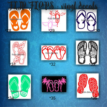 FLIP FLOPS vinyl decals | summertime | beach | decal | sticker | car decals | car stickers | laptop sticker - 28-36