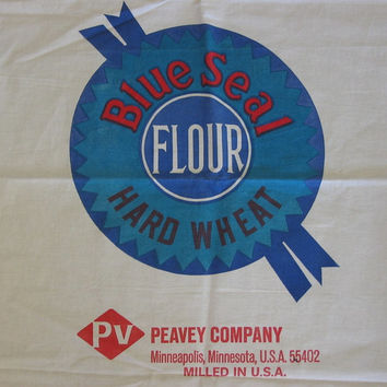 Reproduction Feed Sack Vintage Blue Seal Hard Wheat Flour