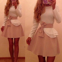 White Long Sleeve Flounced Dress with Ribbon