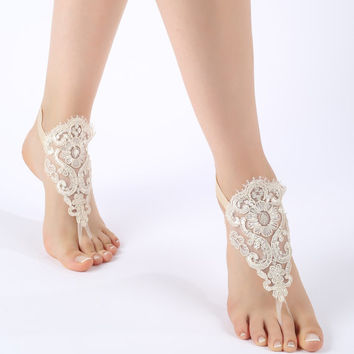 Free ship champagne Barefoot Sandals, french lace, shoes, Gothic, Wedding, beach wedding  barefoot sandals