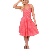 1950s Style Coral Pink & White Polka Dot Halter Swing Dress