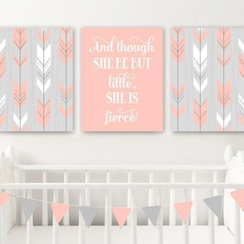 Arrow Boho Tribal Nursery Decor, Girl Tribal Boho Nursery Wall Art, Girl Nursery Quote Canvas or Prints But Little She is Fierce, Set of 3