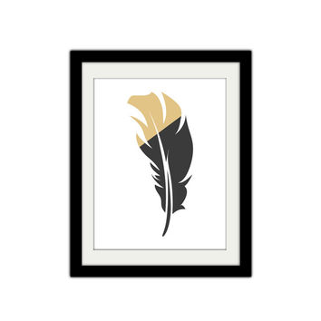 """Gold Dipped Feather. Rustic. Vintage. Boho. Shabby Chic. Trendy. Home Decor. Bird. 8.5x11"""" Print."""