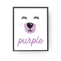 Purple Bear Print, Learning Colors, Kids Room Decor, Kids Education, School Room Art, Nursery Decor, Baby Art, Nursery Poster, Kids Print