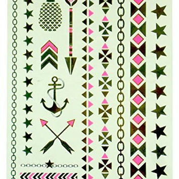 Temporary Metallic Tattoos by Hot Focus - Jewelry Styles - Arrows, Stars, Anchor, Pineapple, Chain Links