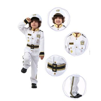 Navy Uniform Halloween Sailor Role Playing Costume For Kids Children White Police Uniform in Carnival Fancy Dress Party