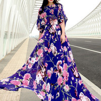 Blue Floral and Rabbit Print Flared Sleeve Maxi Dress