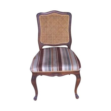 Pre-owned Cane Back Upholstered Dining Chairs - Set of 6