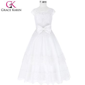 Grace Karin White Lace Flower Girl Dresses for Wedding Tulle Princess Party Birthday Baby Girls Dresses Communion Ball Gown
