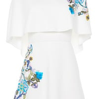 Short Embroidered Dress with Cape Detail | Moda Operandi